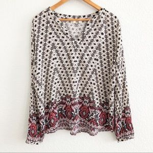 Francesca's Collection Printed Long Sleeve Blouse